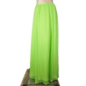 Line & Dot Green Draped Festive Maxi Skirt